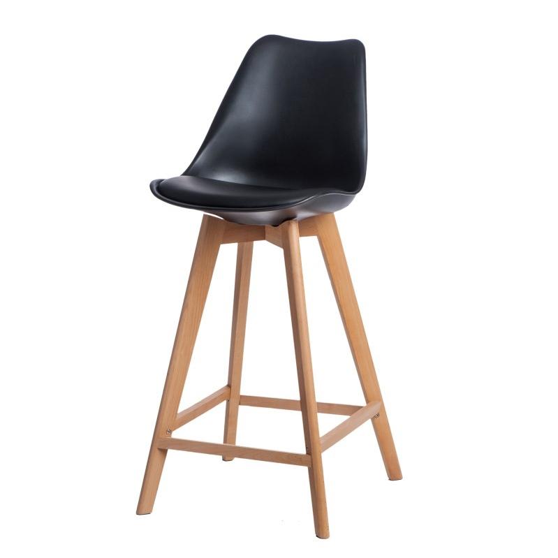 Barová židle s dřevěnou podnoží Norby