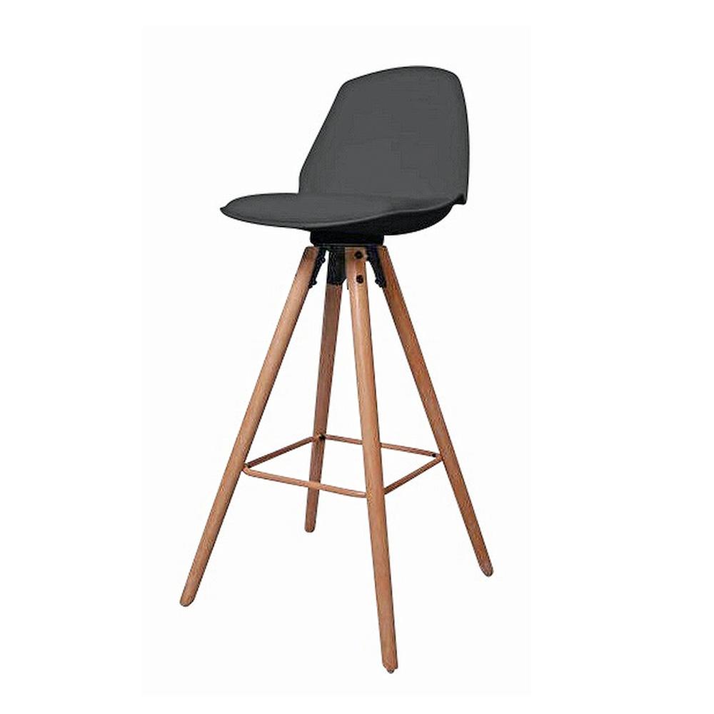 Barová židle s dřevěnou podnoží Stephie, černá