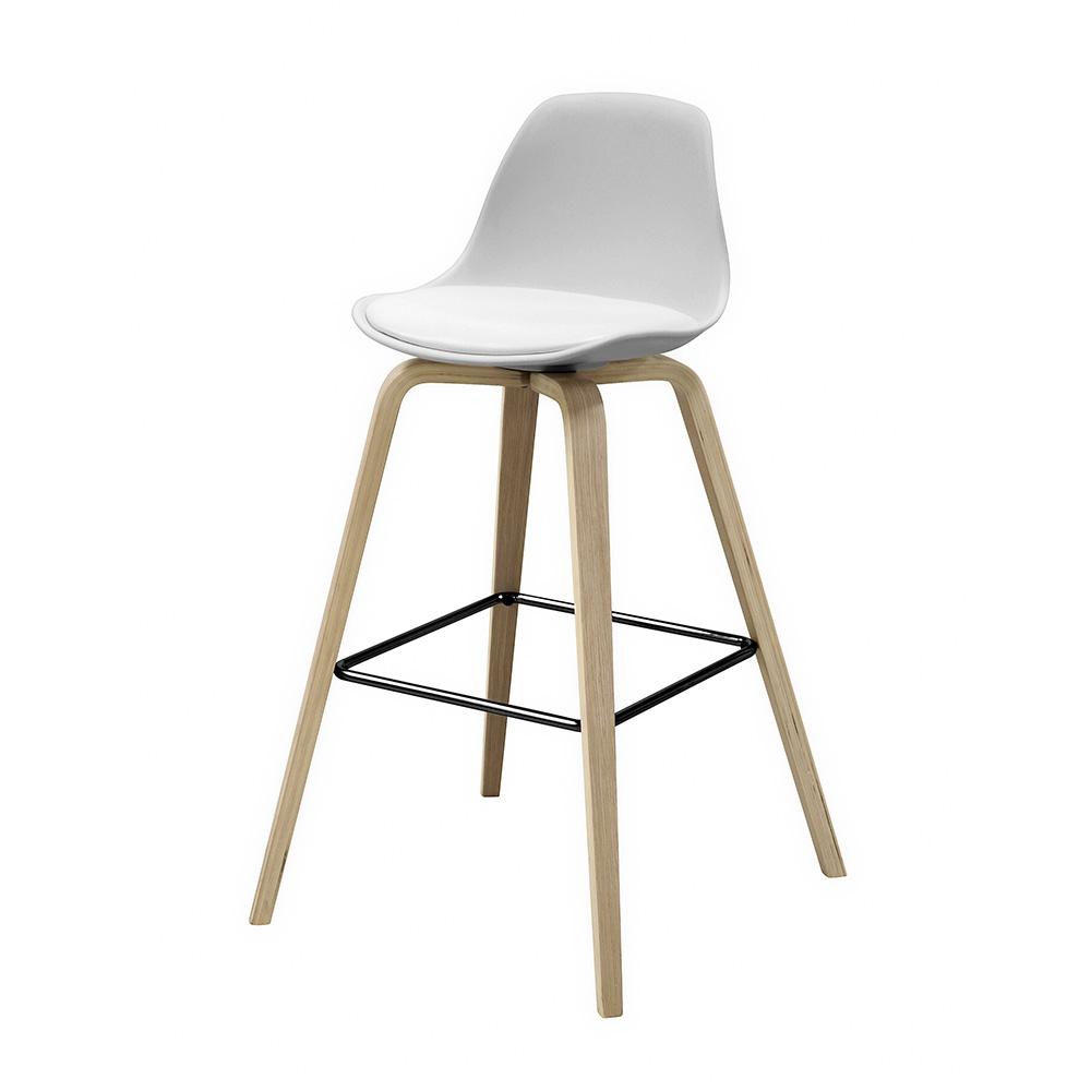 Barová židle s dřevěnou podnoží Zaza (SET 2 ks), dřevo/bílá