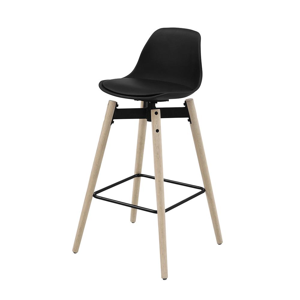 Barová židle s dřevěnou podnoží Zina, černá