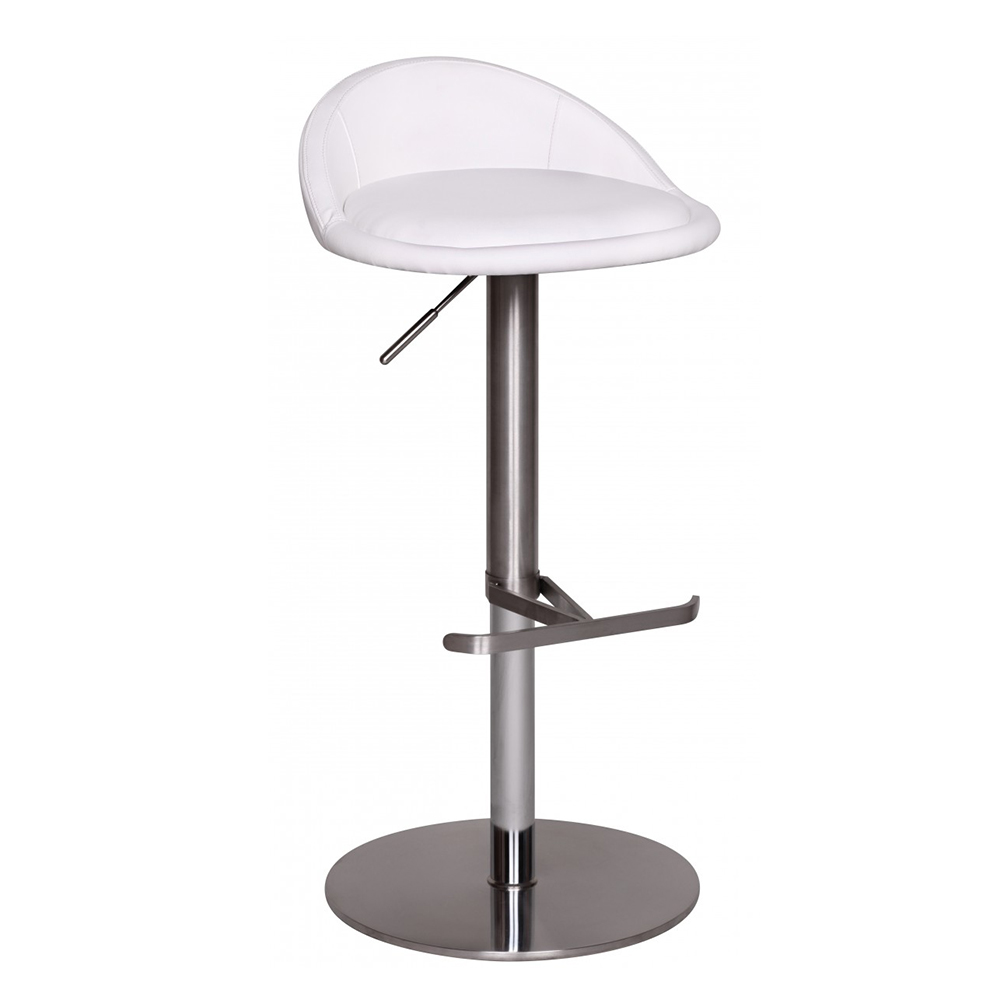 Barová židle s nerezovou podnoží Durable, bílá