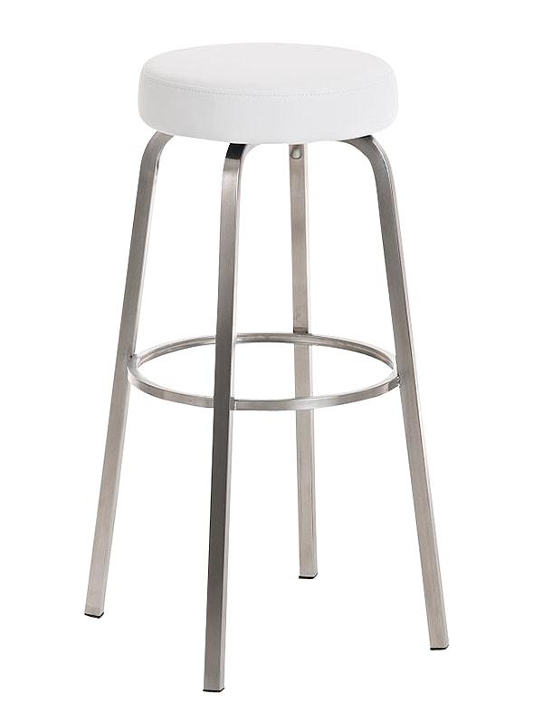 Barová židle s nerezovou podnoží Karela bílá