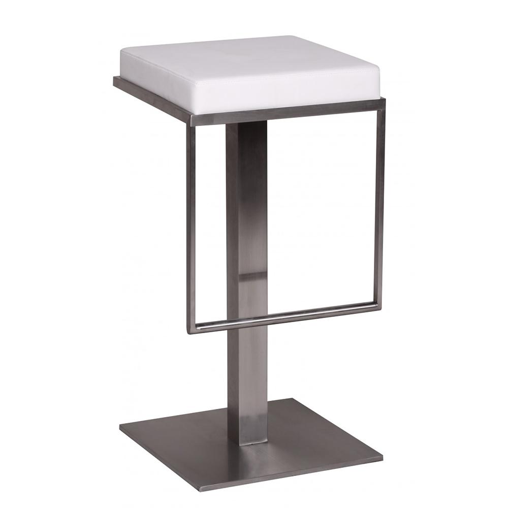 Barová židle s nerezovou podnoží Wella, bílá
