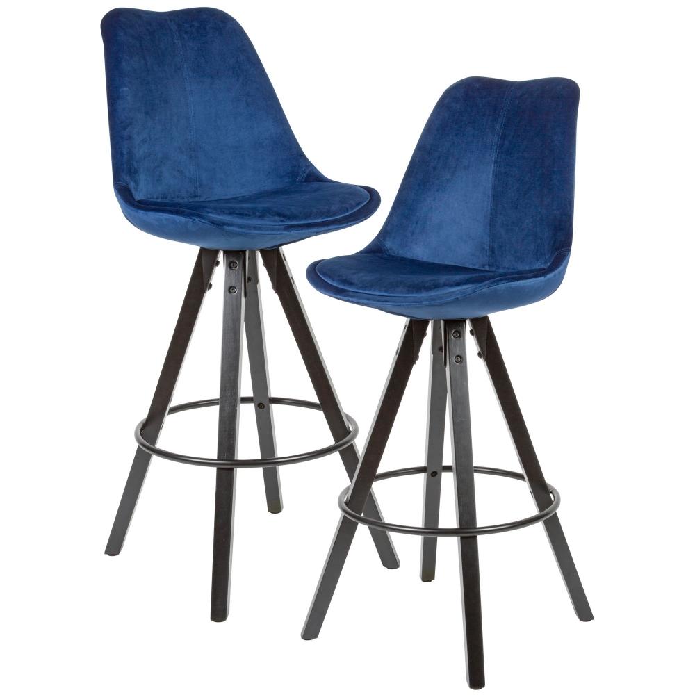 Barová židle Steve (SET 2 ks), samet, modrá / černá