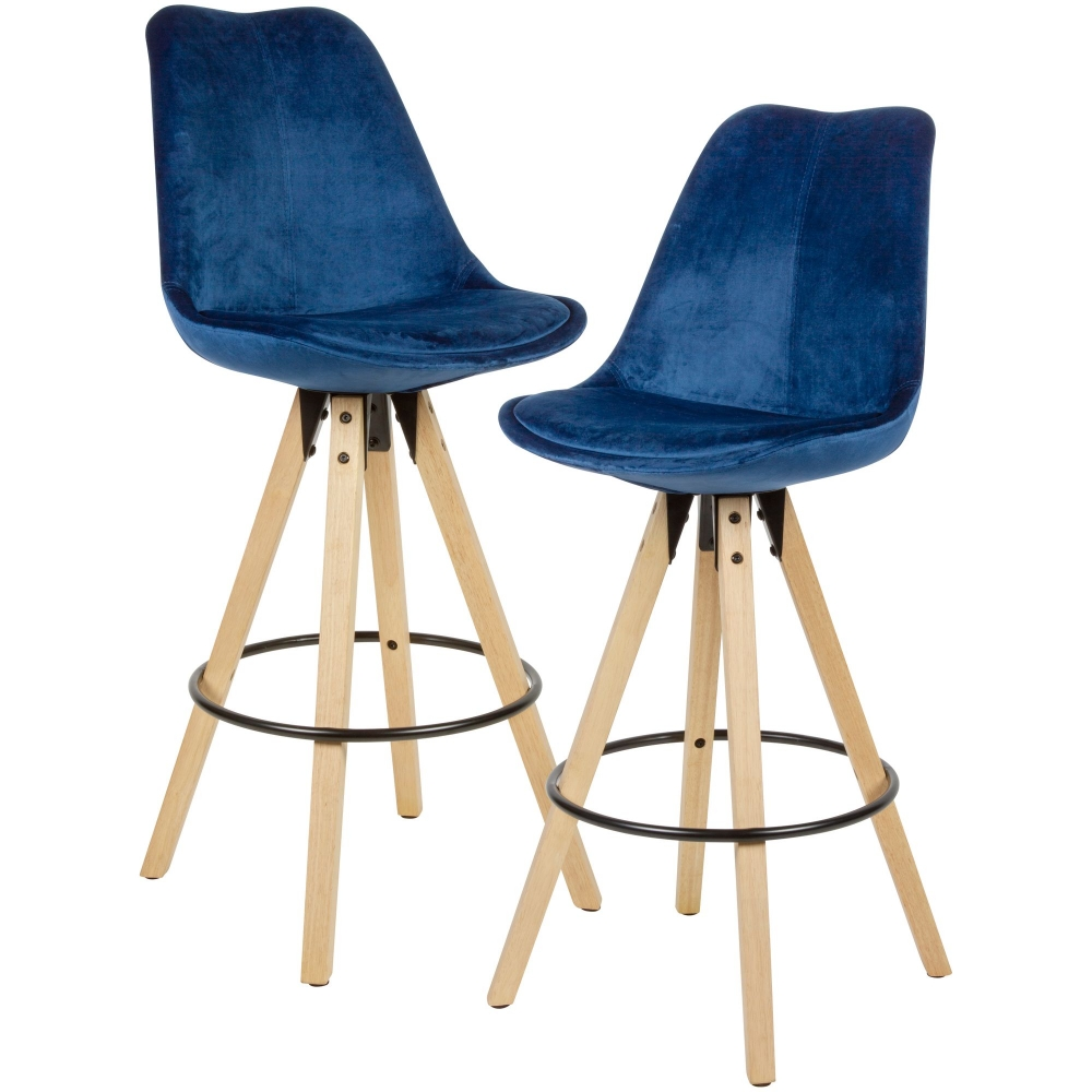 Barová židle Steve (SET 2 ks), samet, modrá