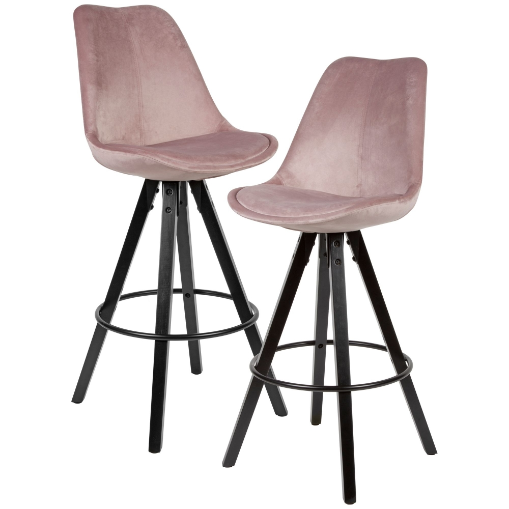 Barová židle Steve (SET 2 ks), samet, růžová / černá