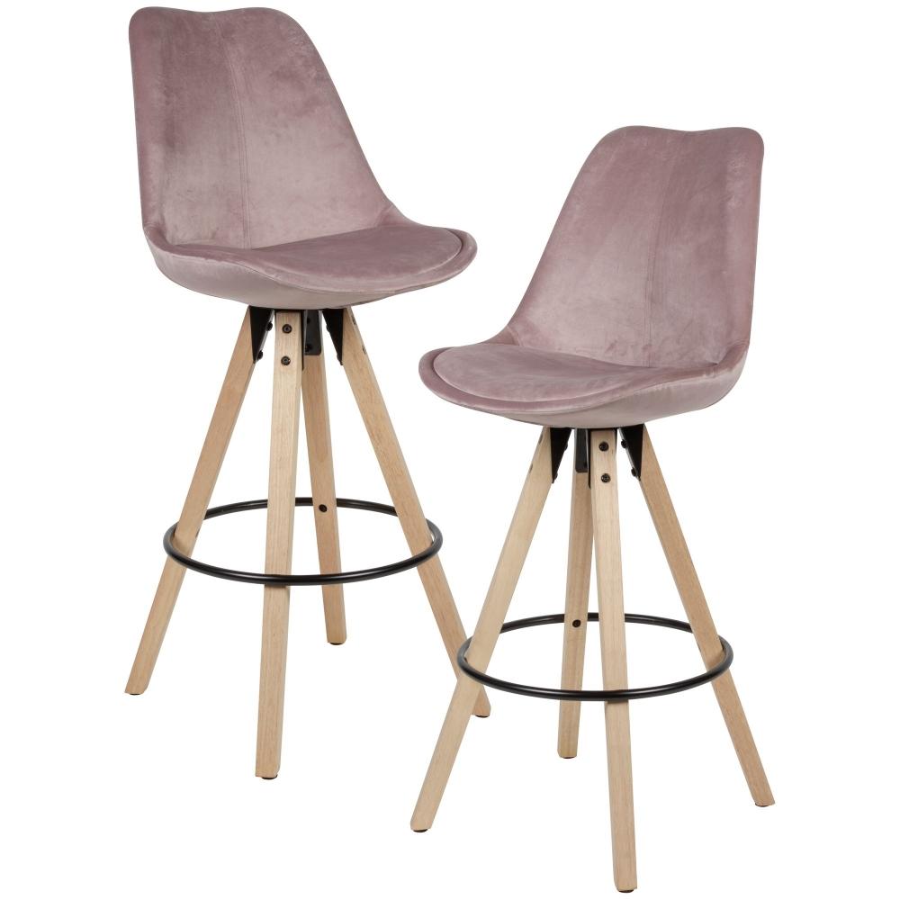 Barová židle Steve (SET 2 ks), samet, růžová