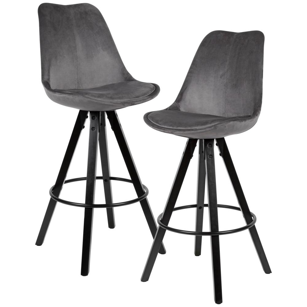 Barová židle Steve (SET 2 ks), samet, šedá / černá