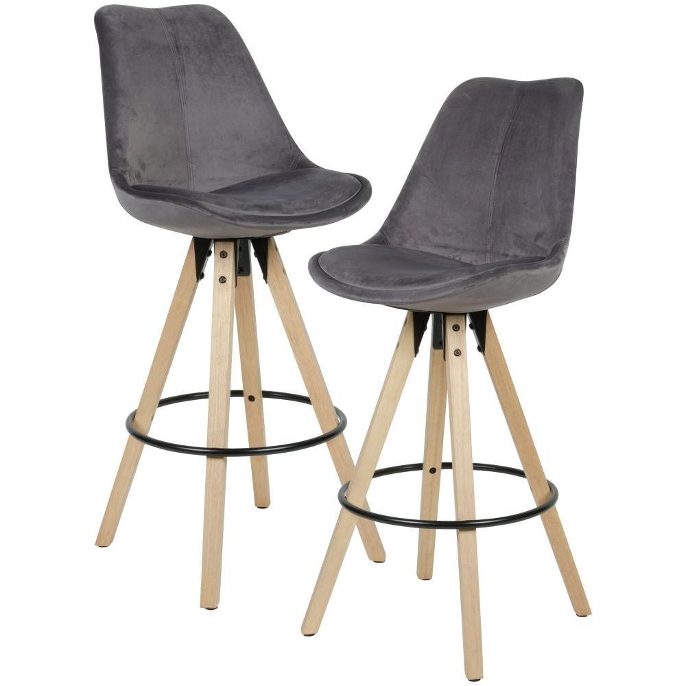 Barová židle Steve (SET 2 ks), samet, šedá