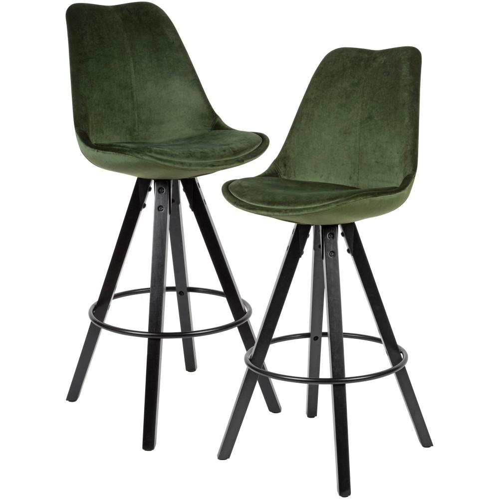 Barová židle Steve (SET 2 ks), samet, zelená / černá