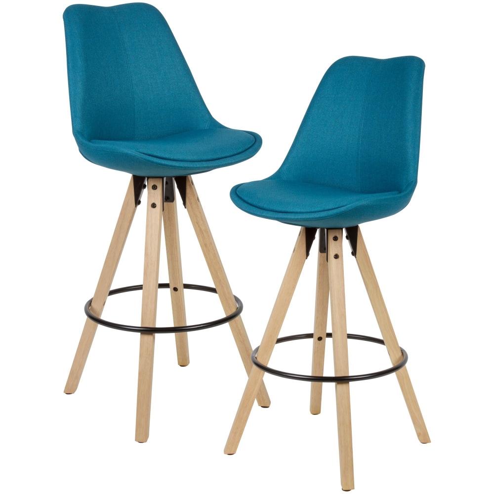 Barová židle Steve (SET 2 ks), textil, modrá