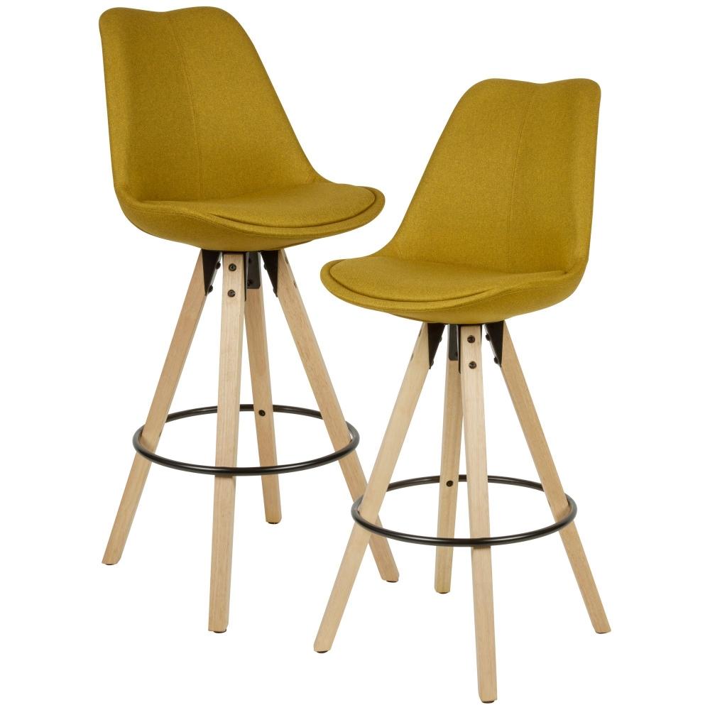 Barová židle Steve (SET 2 ks), žlutá