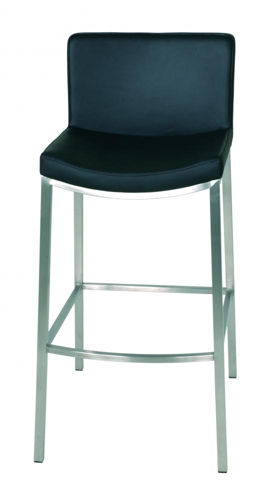 Barová židle Teha, 85 cm, nerez / černá