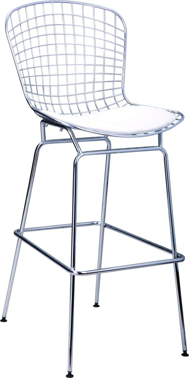 Barová židle William, chrom/bílá
