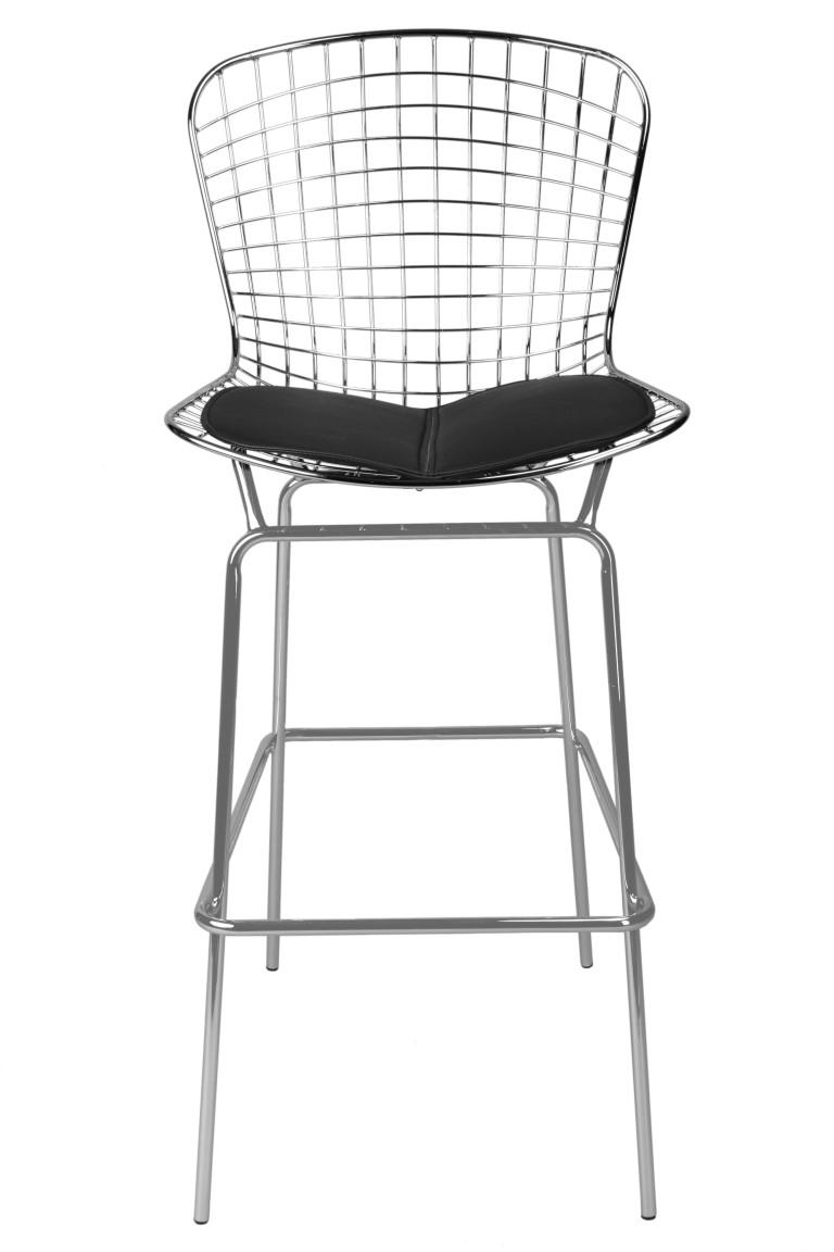 Barová židle William, chrom/černá