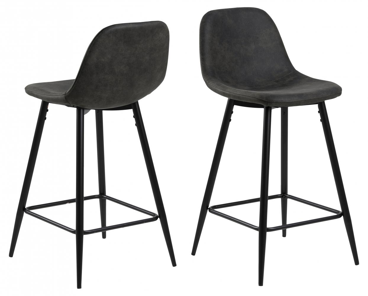 Barová židle Wilma (SET 2ks), tkanina, antracitová