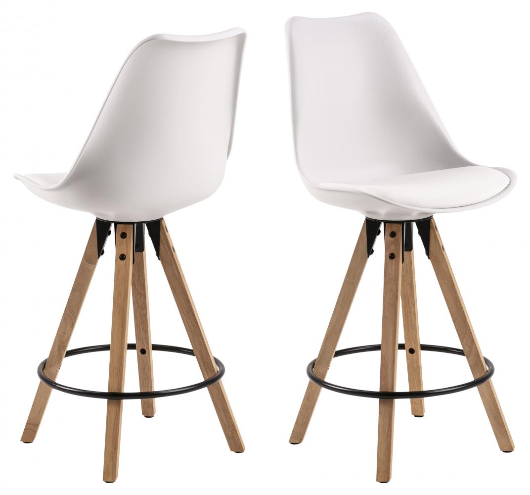 Barové židle Dima (SET 2ks), plast, bílá