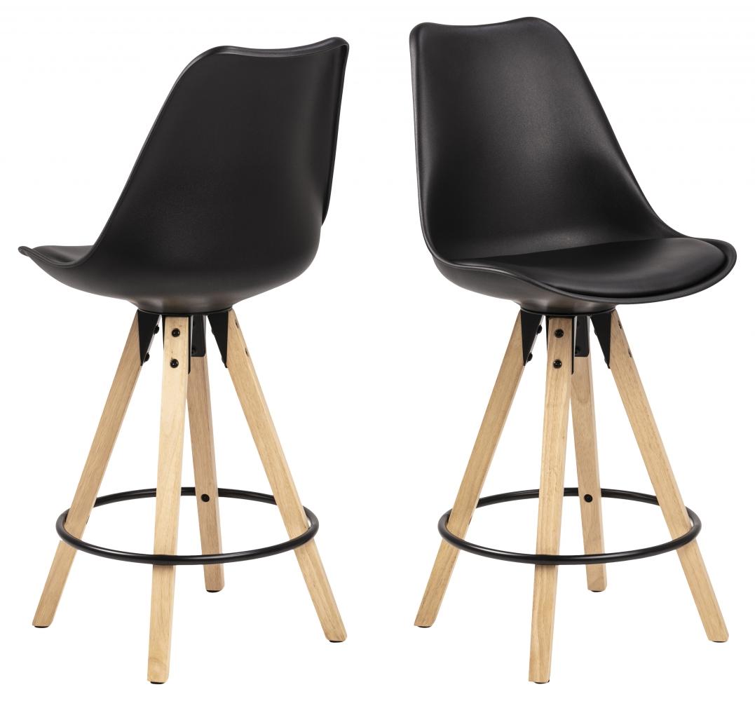 Barové židle Dima (SET 2ks), plast, černá