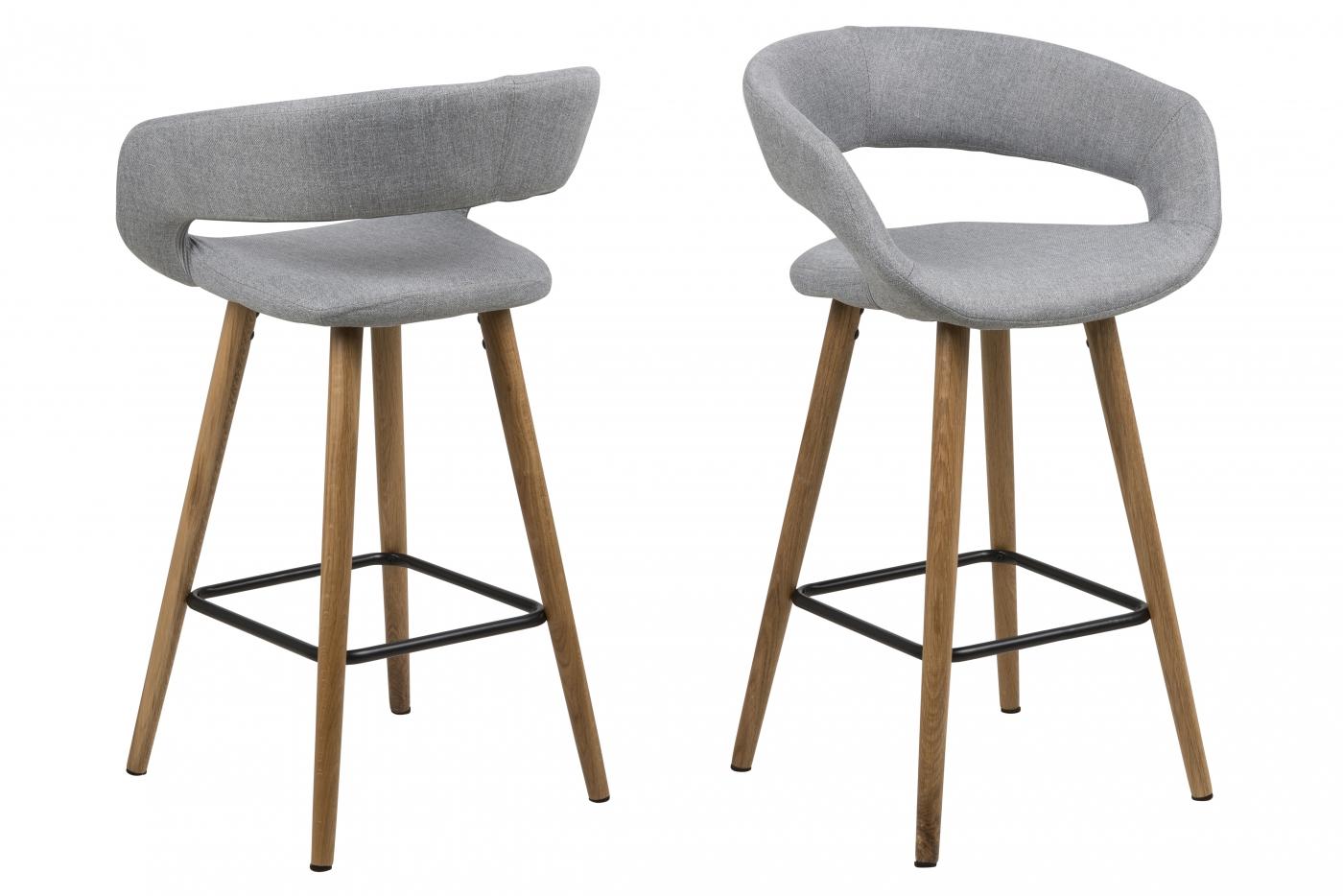 Barové židle Grace (SET 2ks), tkanina, světle šedá
