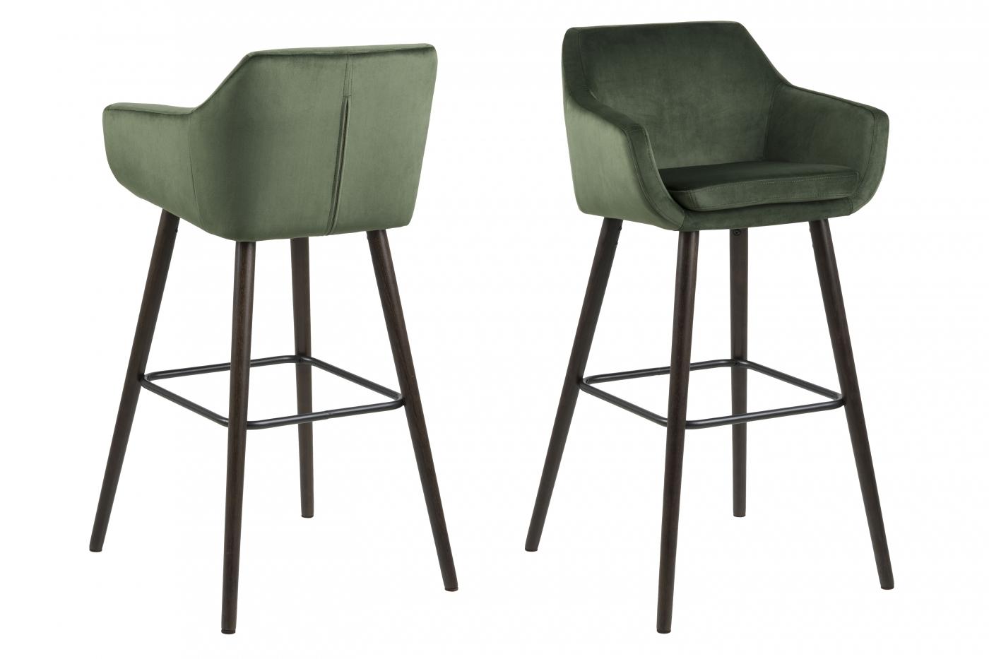 Barové židle Nora (SET 2ks), tkanina, tmavě zelená