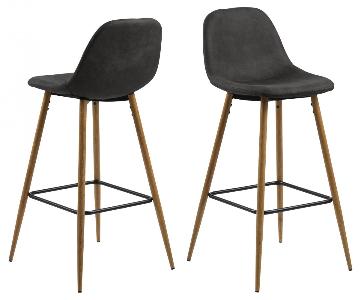 Barové židle Wilma (SET 2ks), tkanina, antracitová