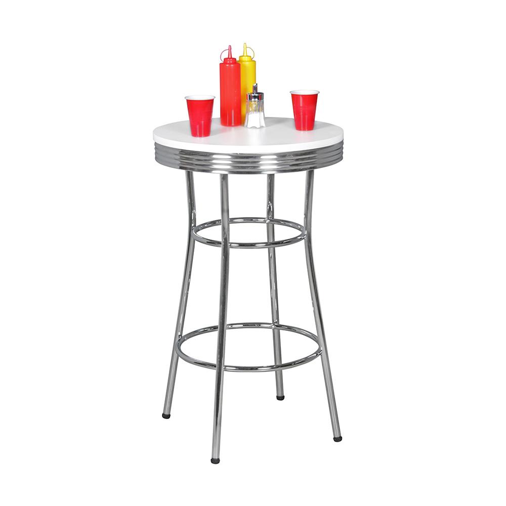 Barový stůl Elvis kulatý, 60 cm, bílá