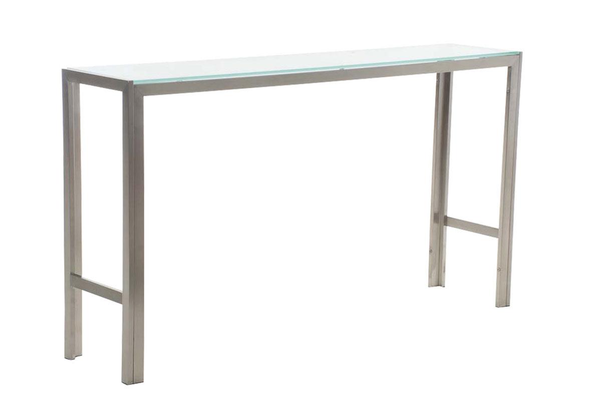 Barový stůl s nerezovou podnoží Carrera, 140 cm, mléčné sklo