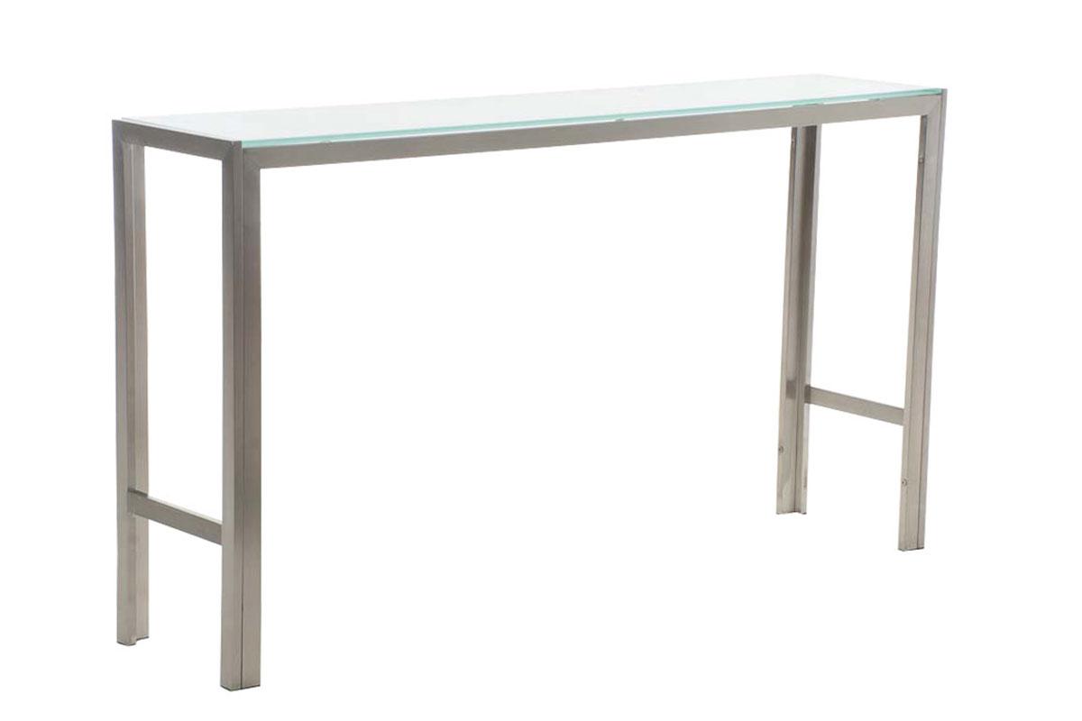 Barový stůl s nerezovou podnoží Carrera, 160 cm, mléčné sklo