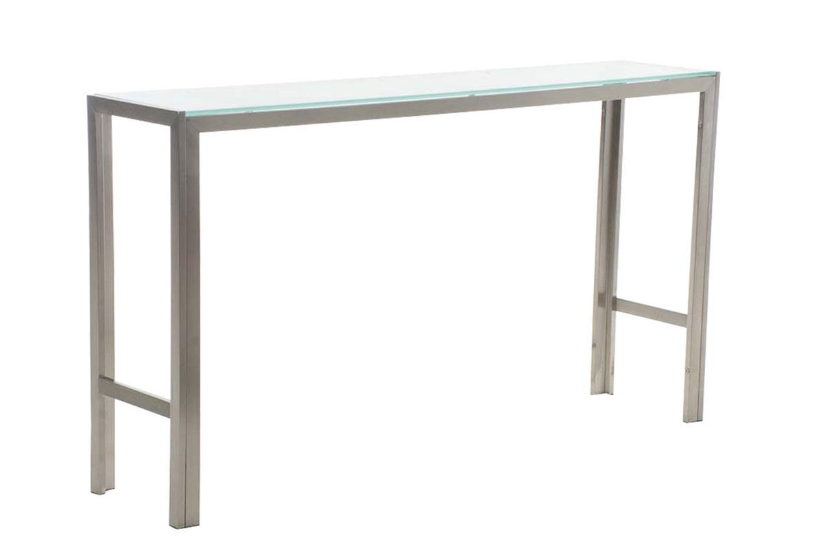 Barový stůl s nerezovou podnoží Carrera, 180 cm, mléčné sklo