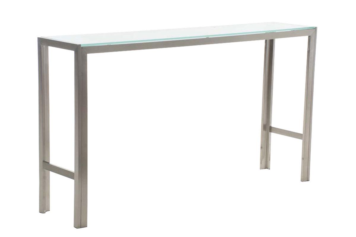 Barový stůl s nerezovou podnoží Carrera, 200 cm, mléčné sklo