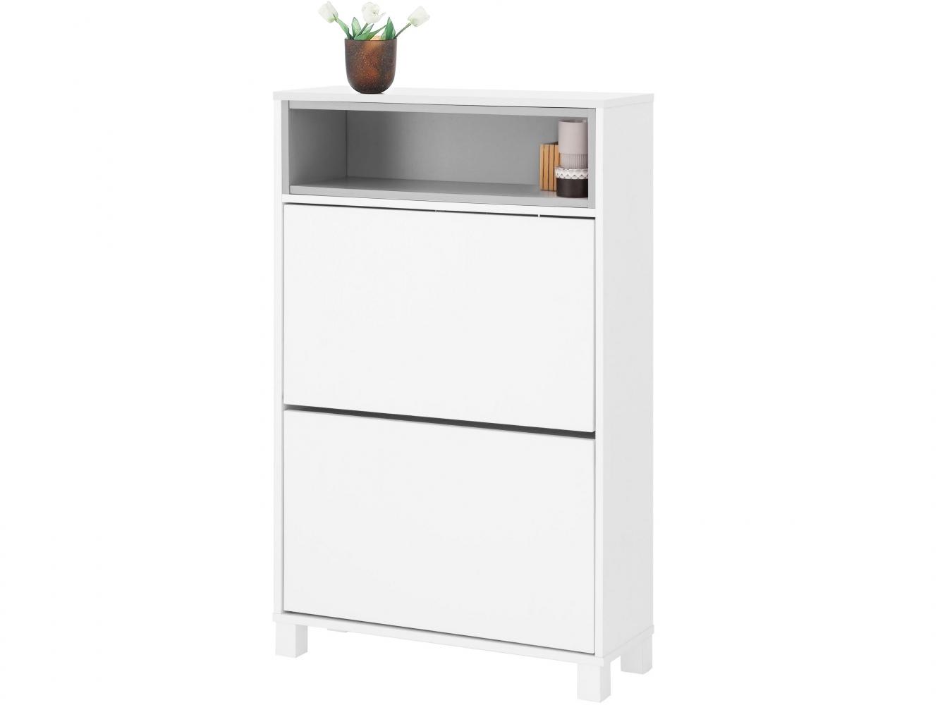 Botník Paker, 110 cm, bílá / šedá