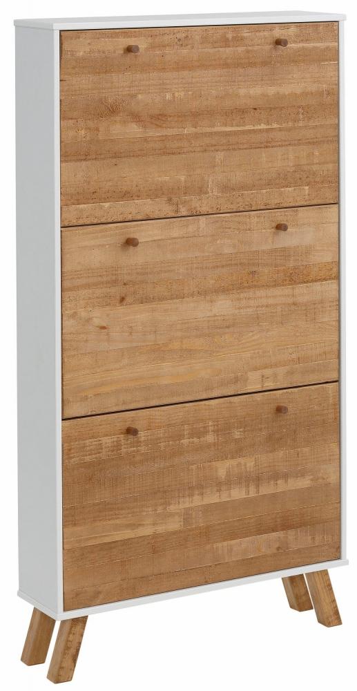 Botník Rafell, 140 cm, bílá / borovice