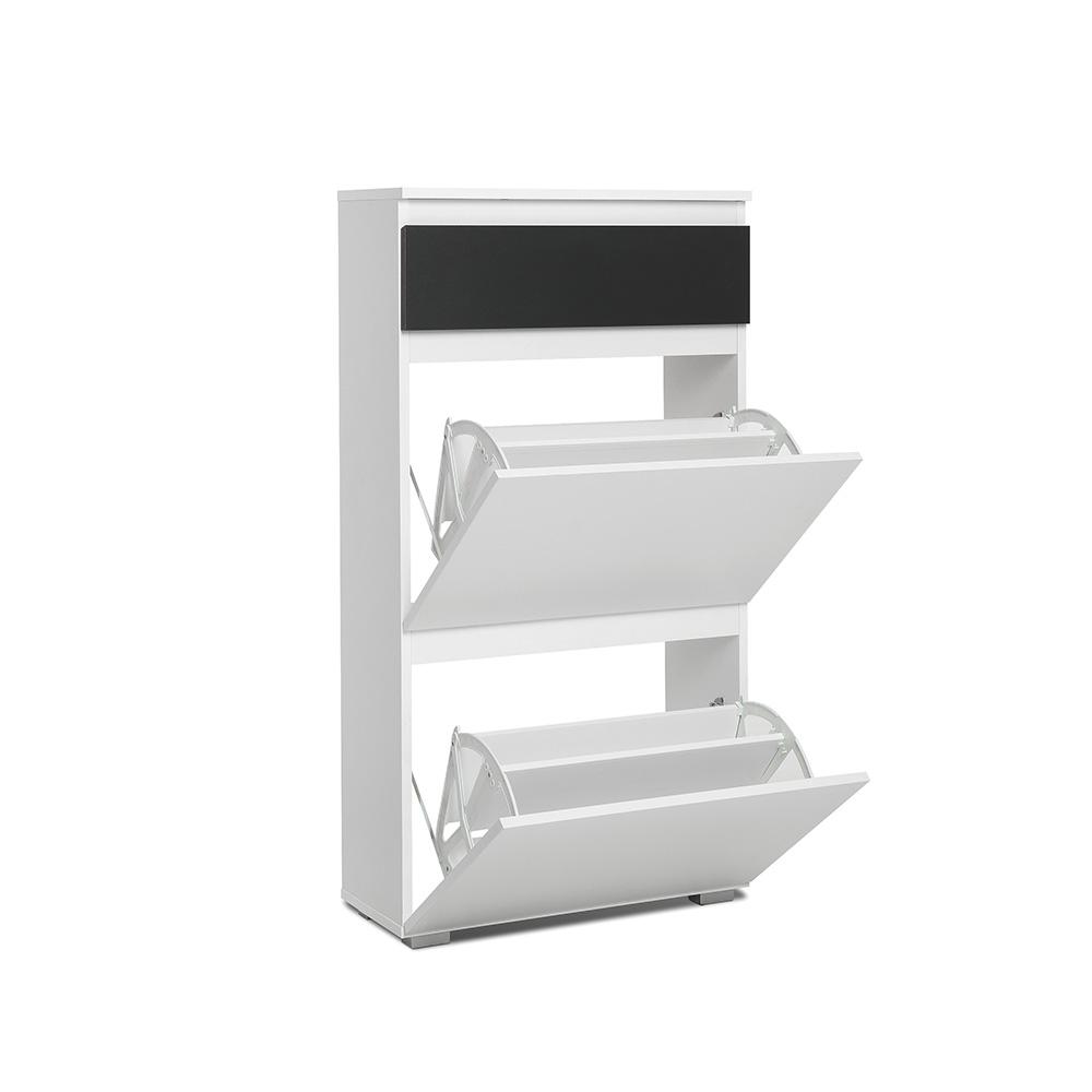 Botník s 2 výklopnými zásuvkami Picture, 109 cm, bílá/antracit