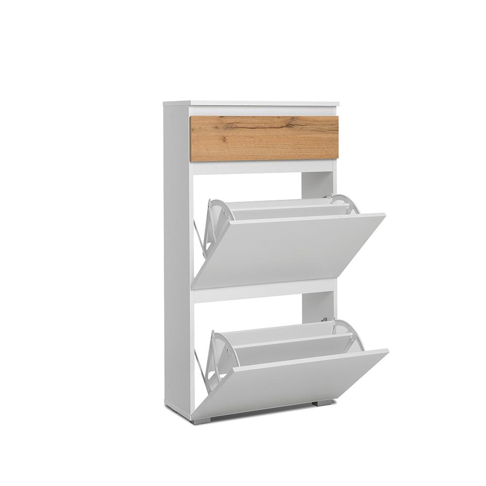 Botník s 2 výklopnými zásuvkami Picture, 109 cm, bílá/dub