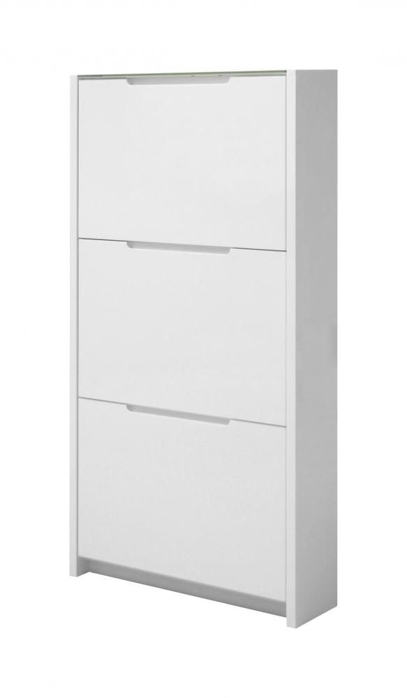Botník s 3 výklopnými zásuvkami Belin, 122 cm, bílá