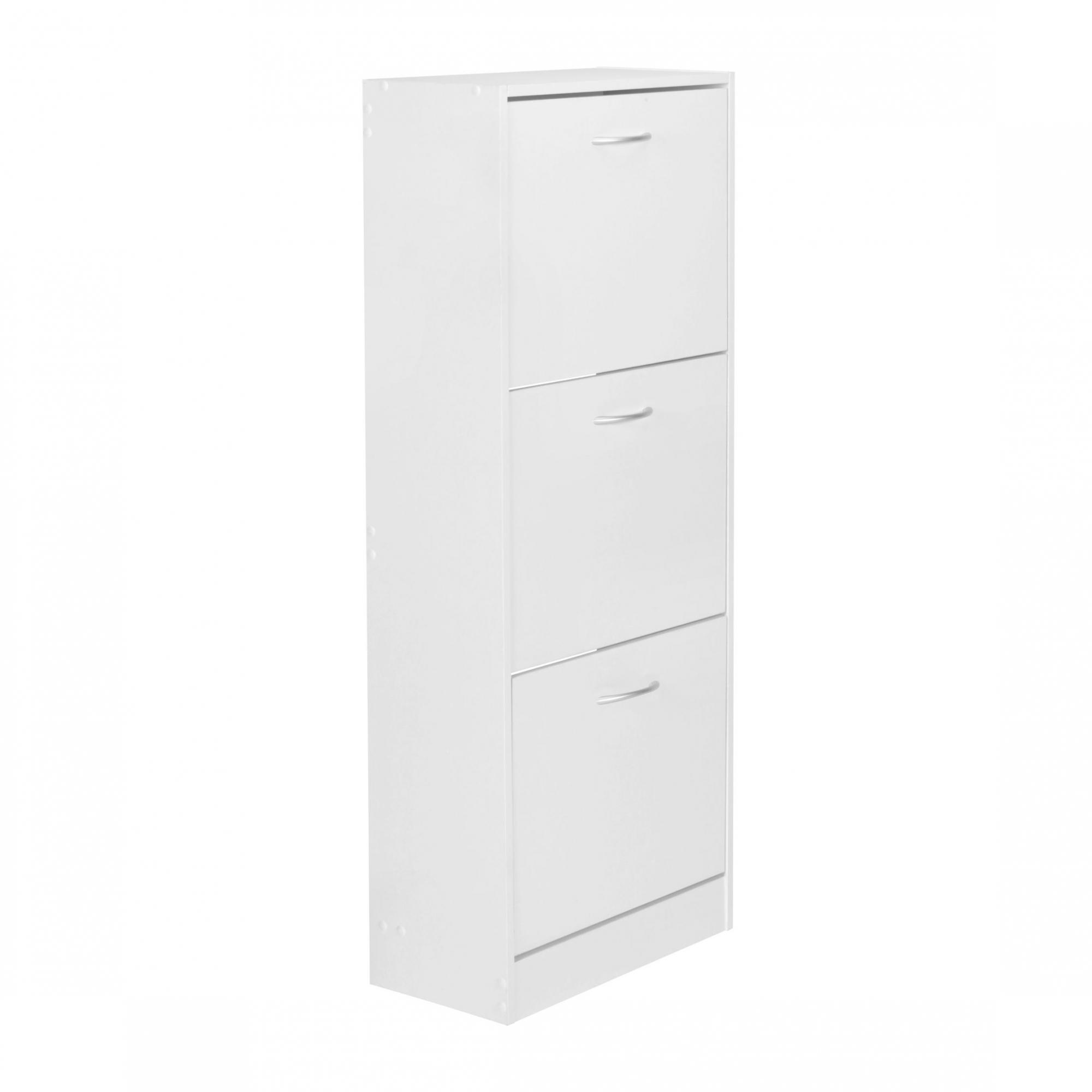 Botník s 3 výklopnými zásuvkami Bella, 125 cm, bílá