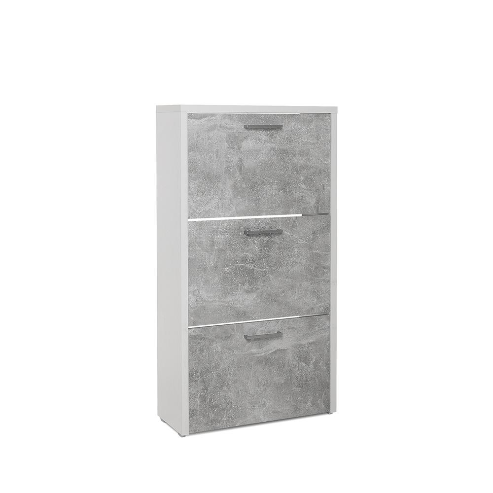 Botník s 3 výklopnými zásuvkami Cali, 119 cm, bílá/beton