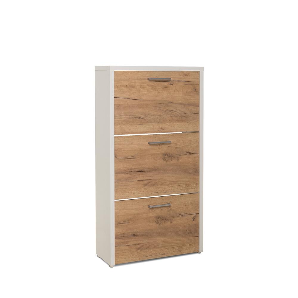 Botník s 3 výklopnými zásuvkami Cali, 119 cm, bílá/dub