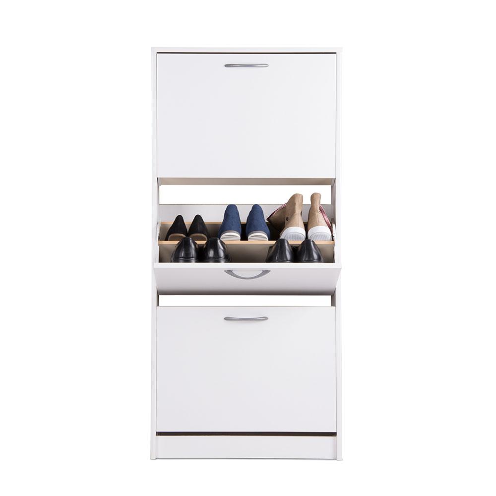 Botník s 3 výklopnými zásuvkami Zora, 123,5 cm, bílá