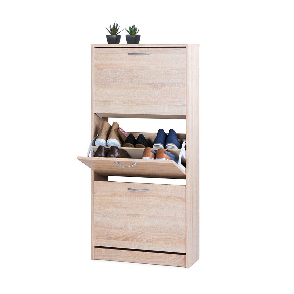 Botník s 3 výklopnými zásuvkami Zora, 123,5 cm, dub