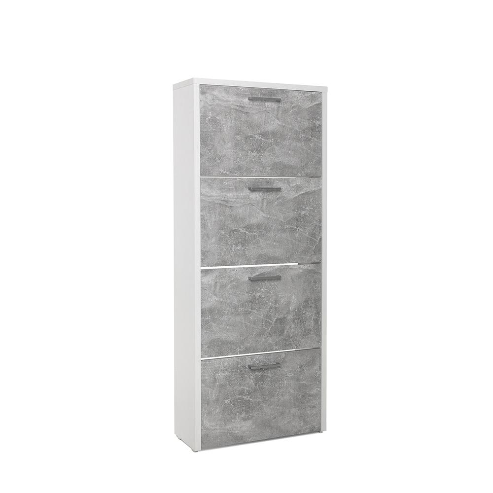Botník s 4 výklopnými zásuvkami Cali, 152 cm, bílá/beton