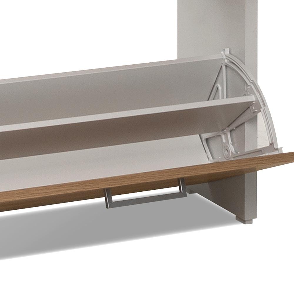 Botník s 4 výklopnými zásuvkami Cali, 152 cm, bílá/dub