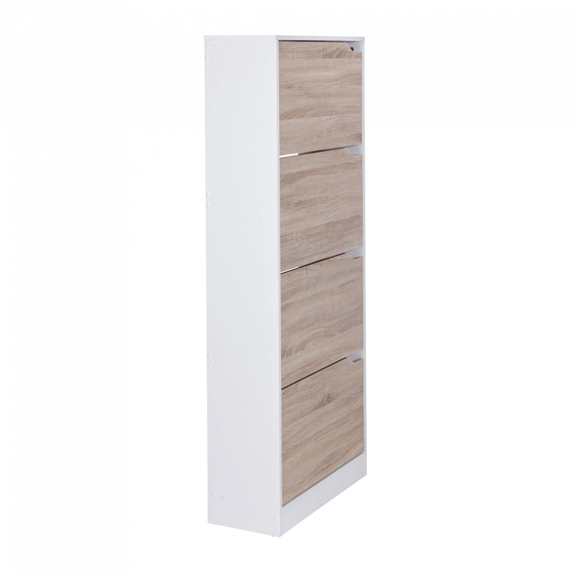 Botník s 4 výklopnými zásuvkami Vera, 150 cm, bílá/Sonoma dub