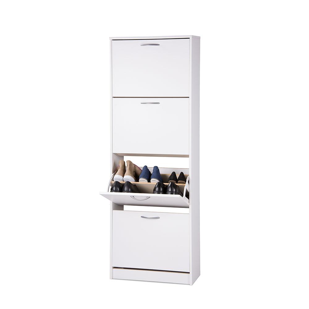 Botník s 4 výklopnými zásuvkami Zora, 162 cm, bílá