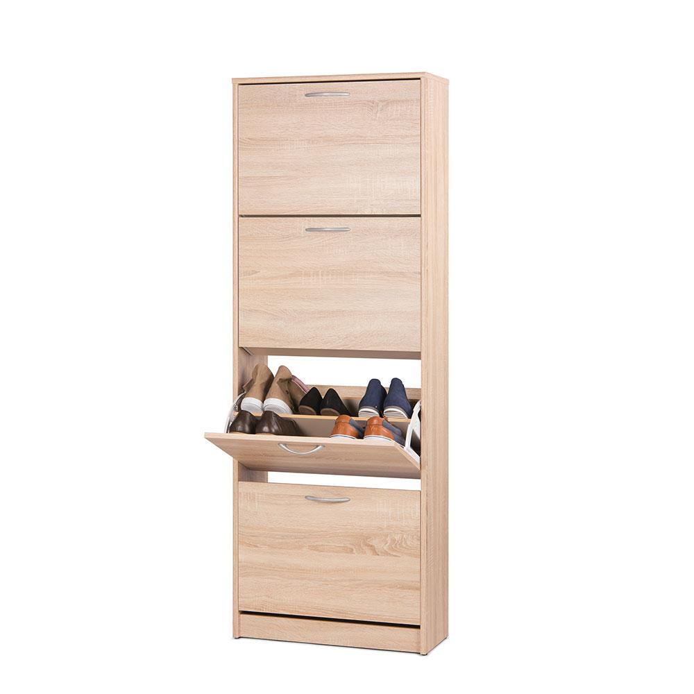 Botník s 4 výklopnými zásuvkami Zora, 162 cm, dub