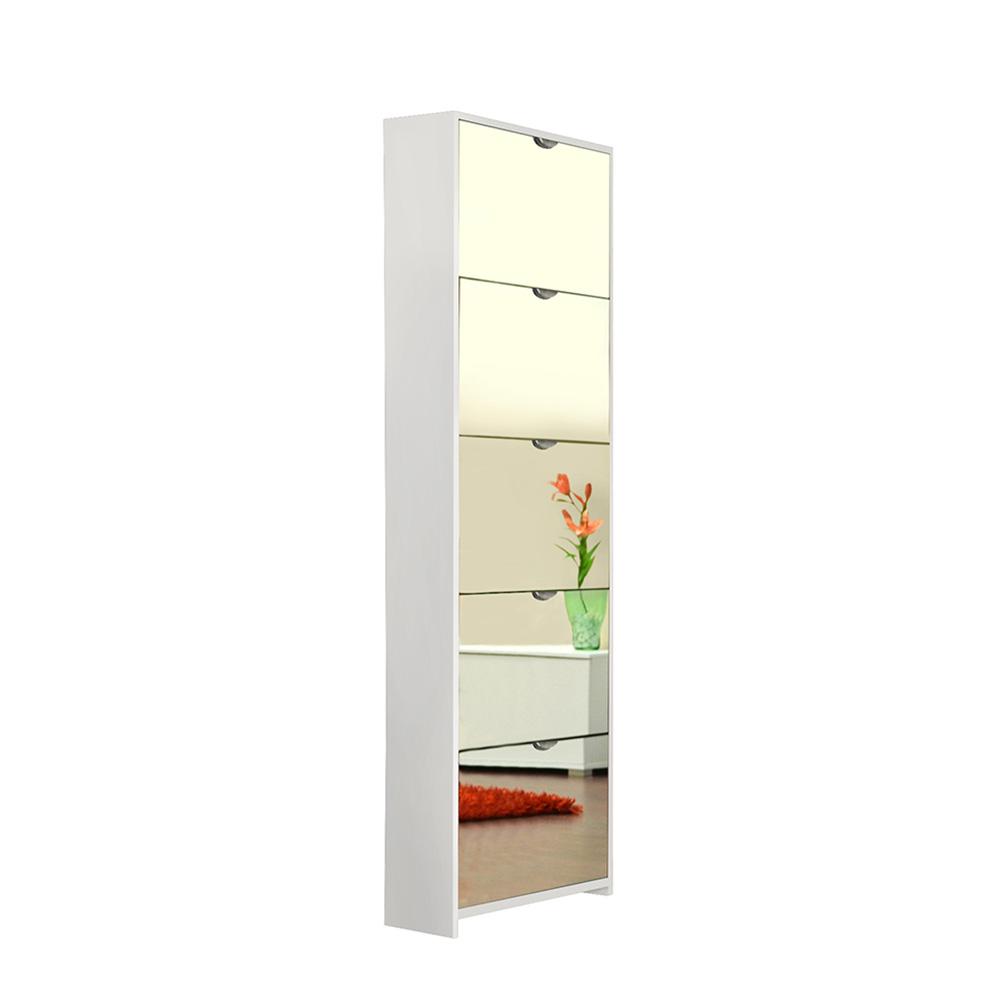 Botník s 5 zrcadlovými zásuvkami Sheila, 177 cm, bílá