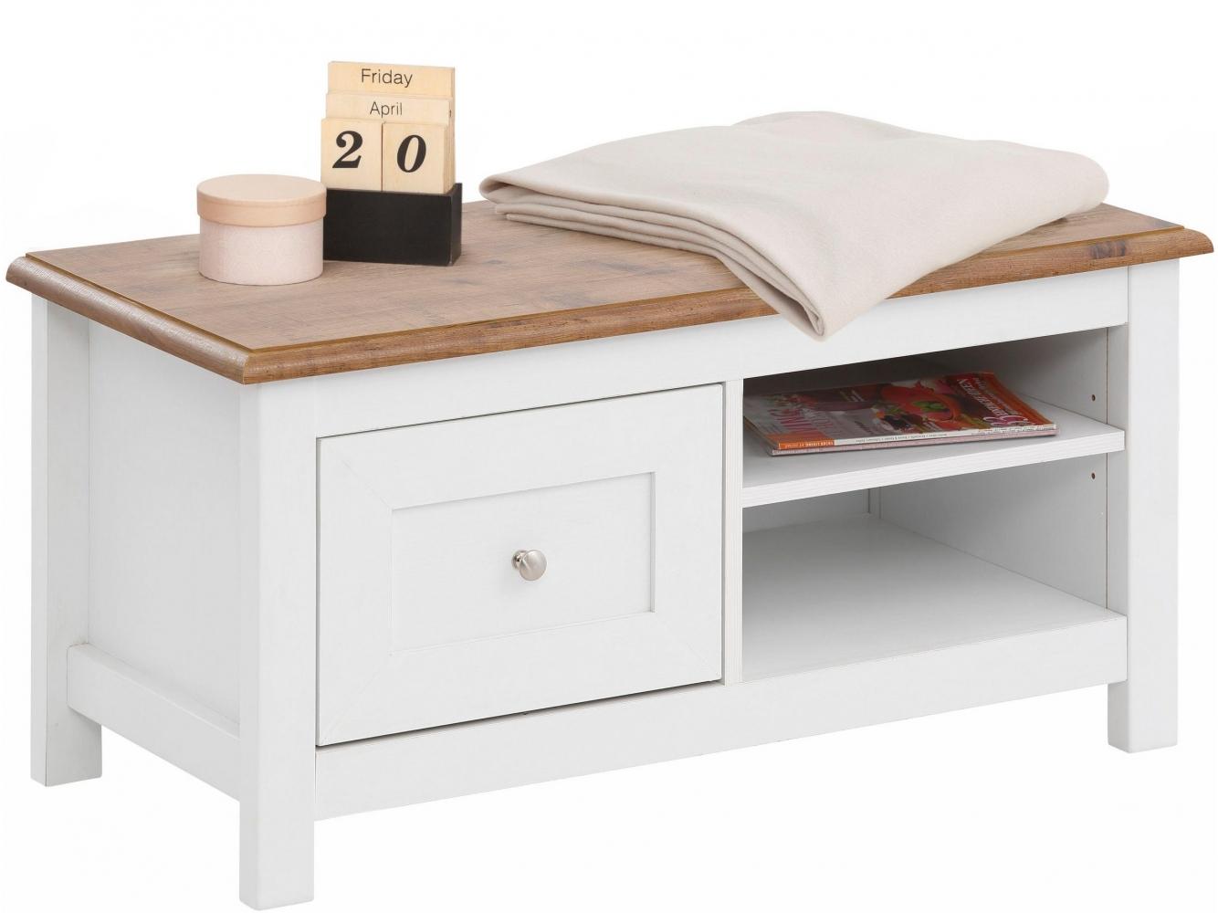 Botník s lavicí Keef, 90 cm, bílá