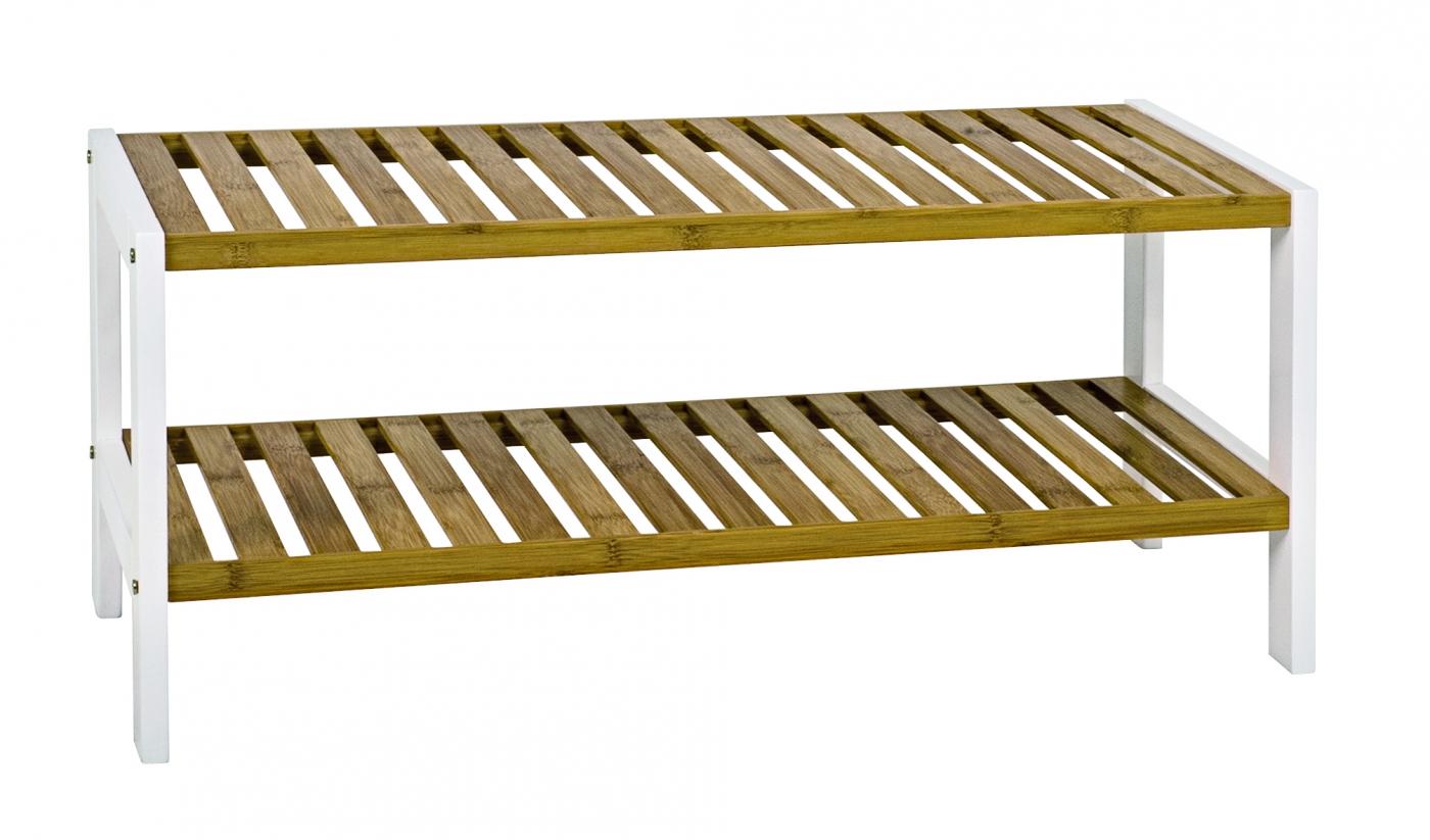 Botník Santos I., 70 cm, bílá / bambus