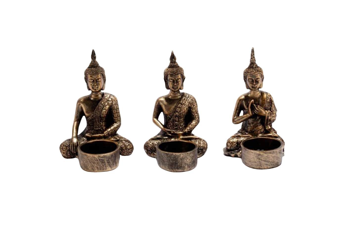 Čajové svícny Buddha, 13 cm, sada 3 ks, bronzová