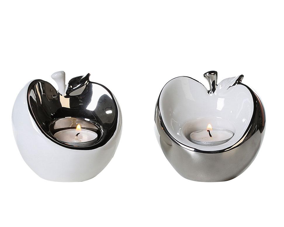 Čajové svícny keramické Apple, sada 2 ks